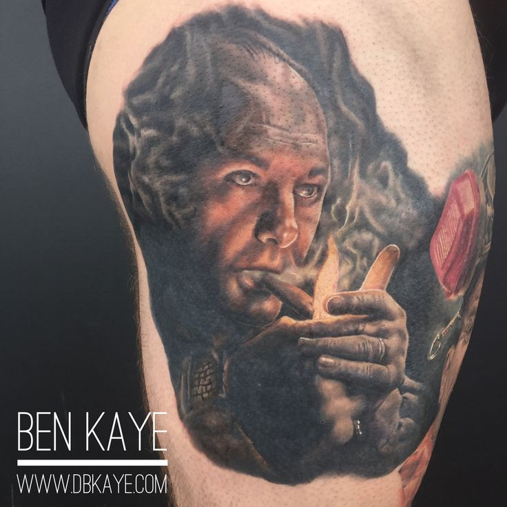 Tony Soprano portrait tattoo done by Ben Kaye