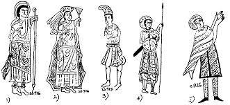 Los nobles llevaban zapatos o sandalias auqneu en las casas iban descalzos, incluyen zapatillas, calcetines tipo mocasin, sandalias atadas por encima del tobillo, botas altas y cerradas para viajar, los hombres llevaban botines de gamuza, o decuero blanco o rojo, las mujeres usaban botas altas y zapatos de tacon.