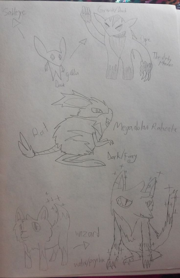 Fakeathon sketches for days 5 - 24 because I couldn't finish them in time, pt.1 Goblin - Sableye pre evo. Dark type Ogre - Alt. evo to the Sableye prevo. Based off buried gems. ground dark type. The Dirty Pokemon Rat - Mega Alolan Raticate. Based off one of those Kangaroo rat thingies. Dark/Fairy type Wizard - water/psychic type fox wizard. I was out of ideas #goblin #sableye #fakeathon #fakemon #goblin #sableye #fakeathon #fakemon #pokemon #dark #pre evolution #evolution #mega #mega…