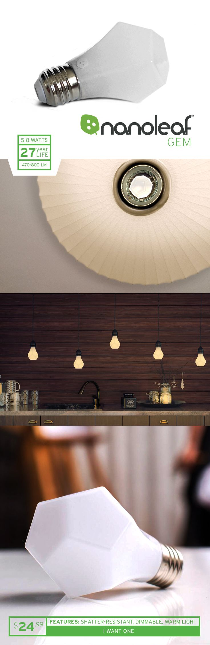 Decorate your home with light - the new Gem LED light bulb by Nanoleaf is the perfect light bulb. It's highly energy efficient, gives off a warm tungsten light and will last for 27 years. | $24.99 each (free shipping on orders over $100) #spon #lighting #hightech #ecofriendly