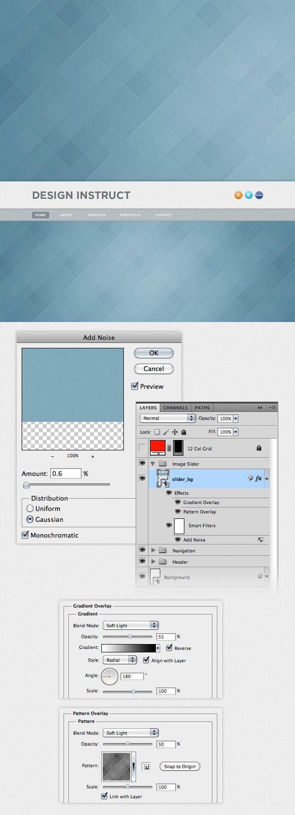 Layout photoshop web design website template tutorials tutorial 022 - Create A Light Textured Web Design In Photoshop