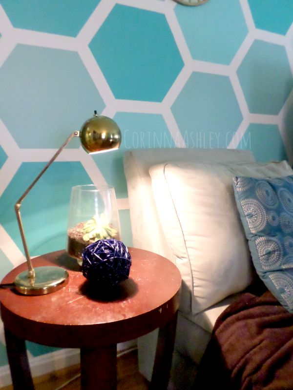 How to Paint an Ombre Hexagon Accent Wall   For My Love Of featured on Remodelaholic.com #accentwall #hexagon #paint