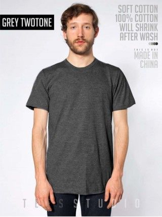 GREY TWOTONE Blank Basic O neck - Tees Studio