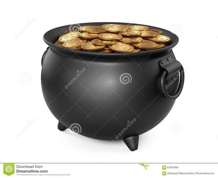 Черный горшок с золотом Котел вполне монеток Иллюстрация штока - изображение: 67854958