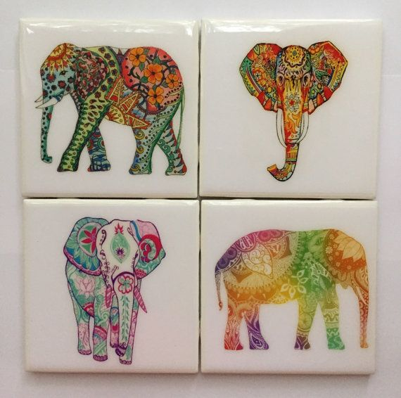 Handmade Colorful Elephant Ceramic Coaster Set of 4- Colorful Indian Elephants- Coasters- Elephant Decor