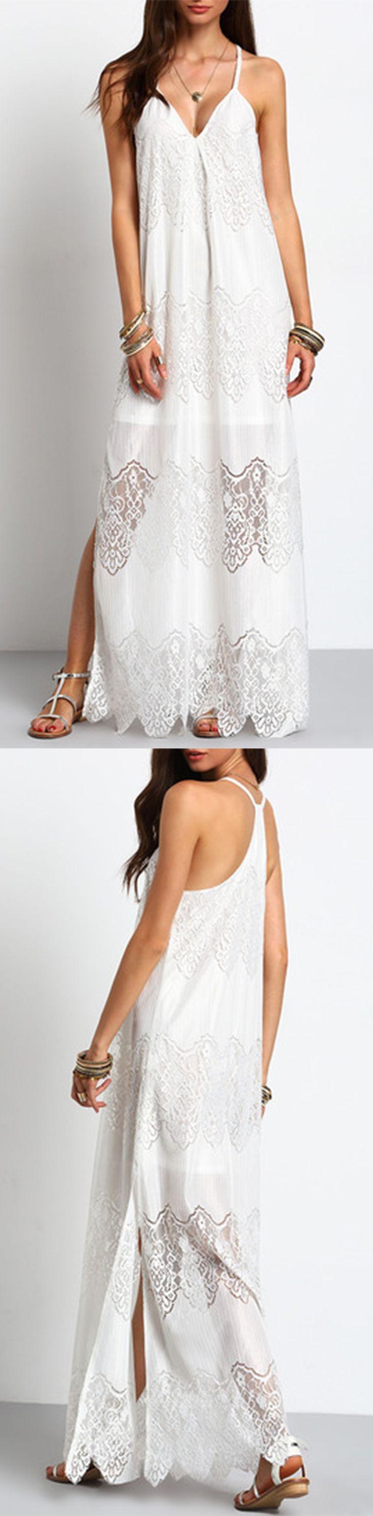 Summer beach weeding dress. Pretty maxi beach dress. Gorgeous white crochet lace dress fromshein.com. Cream Deep V Neck Split Slip Maxi Dress.