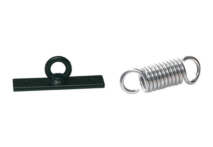 Boxsackhalterung für Decke, inkl. Boxhalterungsfeder.  Die praktische Deckenhalterung für Boxsäcke besteht aus einer Deckenhalterung und einer Boxhalterungsfeder. Die maximale Gewichtsbelastung beträgt 50 kg.  Details:Maße Wandhalter: L/B/H 15,2/4/0,7 cm, Maße Feder: 10,5/3,5/3,5 cm, Material: Stahl, 2fach Fixierung, Befestigungsdübel nicht im Lieferumfang enthalten,  ...