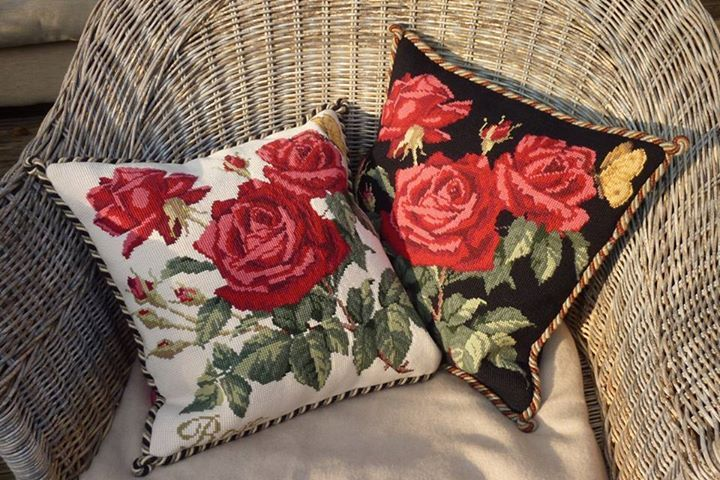Elizabeth Bradley Rose Needlepoint Kit shown on Cream and Black background…