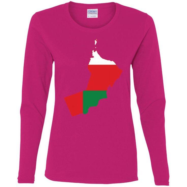 Oman flag -01 G540L Gildan Ladies' Cotton LS T-Shirt