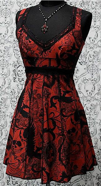 VINTAGE STYLE COCKTAIL DRESS - GOTHIC TATTOO PRINT by Shrine Clothing Rockabilly Dresses Gothic Dresses