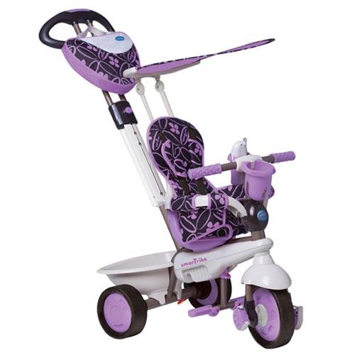 """http://idealbebe.ro/smart-trike-dream-in-purple-p-14577.html    - Manerul telescopic, reglabil si detasabil """"Touch Steering"""" reprezinta pentru parinti o solutie extrem de simpla din punct de vedere al controlului si al directiei tricicletei  - Gentuta ''Dream'' functionala, de calitate  - Suport sustinere picioare pliabil (incepand cu 10 luni)"""