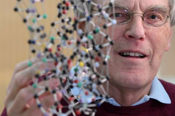 Molecular biologist and biophysicist Richard Henderson poses as he looks through a bacteriorhodopsin protein model, following the announcement that he is a joint winner of the 2017 Nobel Prize in Chemistry, at the MRC Laboratory of Molecular Biology in Cambridge, Britain.