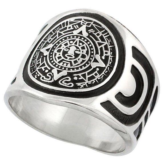 Sterling Silver Aztec Calendar Mayan Sun Ring for Men Aztec Design Sides 18mm wide, sizes 8 - 13