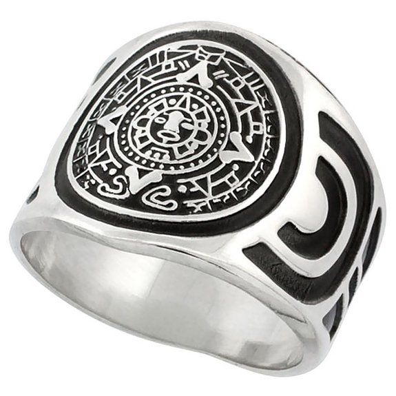 Sterling Silver Aztec Calendar Mayan Sun Ring for Men Aztec Design Sides 18mm wide, sizes 8 - 13