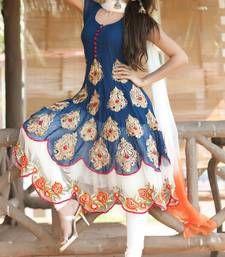 Buy Blue Georgette embroidered semi_stitched salwar with dupatta party-wear-salwar-kameez online