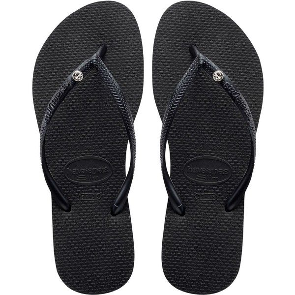 Havaianas Women Slim Crystal Rubber Flip Flops (145 BRL) ❤ liked on Polyvore featuring shoes, sandals, flip flops, black, strappy sandals, black shoes, rubber sole shoes, black flip flops and black strap shoes
