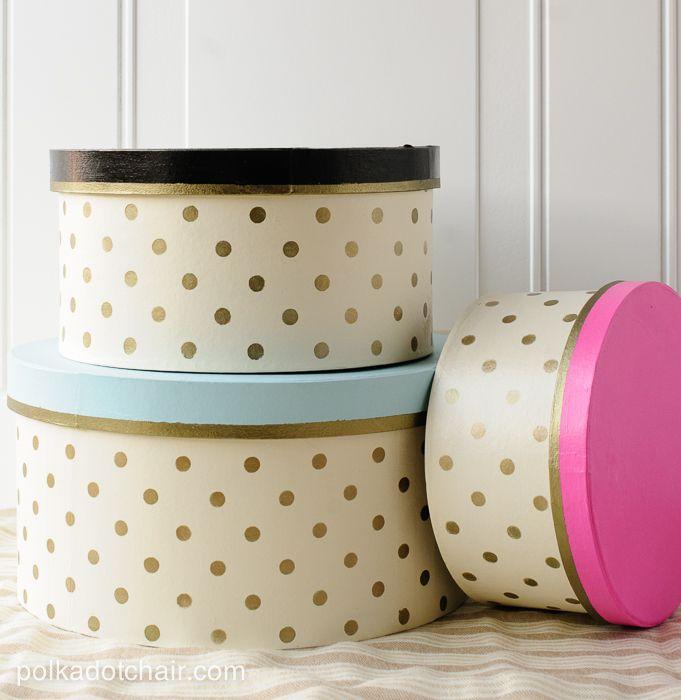 DIY Gold Polka Dot Hat Boxes | Polka Party Stencil by Royal Design Studio http://www.polkadotchair.com/2014/03/diy-gold-polka-dot-hat-boxes.html/