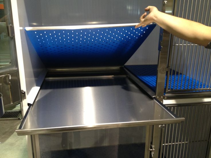 Our double stack kennel cage has a perforated sub-floor for dogs who pee in their cages. The urine runs down into the pull out tray for easy cleaning. Great to use with a pee pee pad. Direct Animal's dog kennel panels, runs, floors and other premium dog kennel designs can be customized for your style and function standards in any space