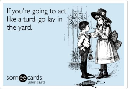 If you're going to act like a turd, go lay in the yard.