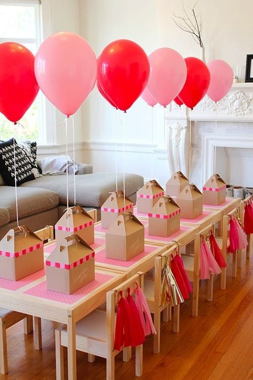 kid's birthday party with individual craft boxes