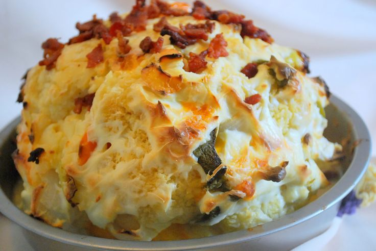 Cheddar Jack Cauliflower Bomb (THM S, Low Carb) A yummy stuffed cauliflower with cheese and bacon.
