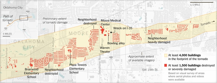 The Damage Along the Tornado's Path in Oklahoma - Map - NYTimes.com