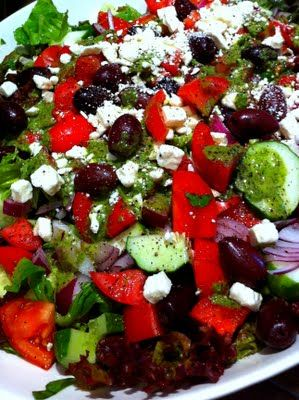 Greek Salad with the BEST dressing!