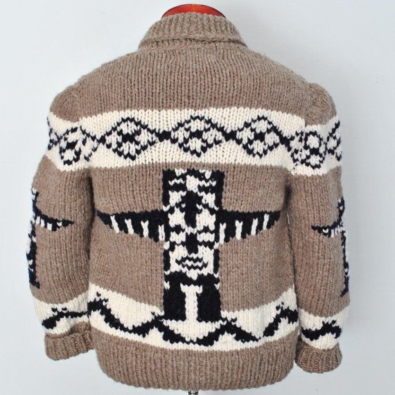 Cowichan Sweater, Totem Cardigan, New Hand Knit Wool Cardigan Canadian Sweater on Etsy, $139.00