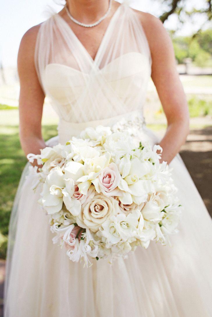 White Gardenia and Rose Bridal Bouquet   David Kurio   Diana M. Lott Photography https://www.theknot.com/marketplace/diana-m-lott-photography-austin-tx-318425