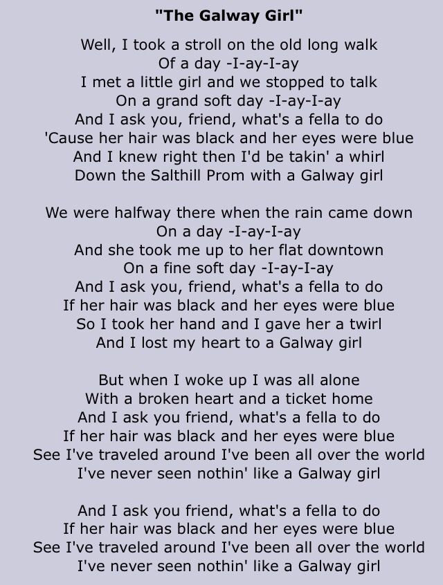 Galloway Girl lyrics - <3 <3 <3 celtic thunder version of this song