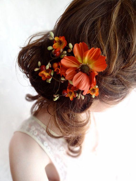 Fall wedding hair piece, fall wedding hair clip, fall hair accessories, fall headpiece, orange hair accessory, fall hair comb, burnt orange