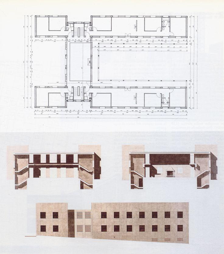 77-miglianico-chieti-maison-pour-quatre-freres-1978-plan-de-letage-elevations-et-coupe.jpg (1139×1295)