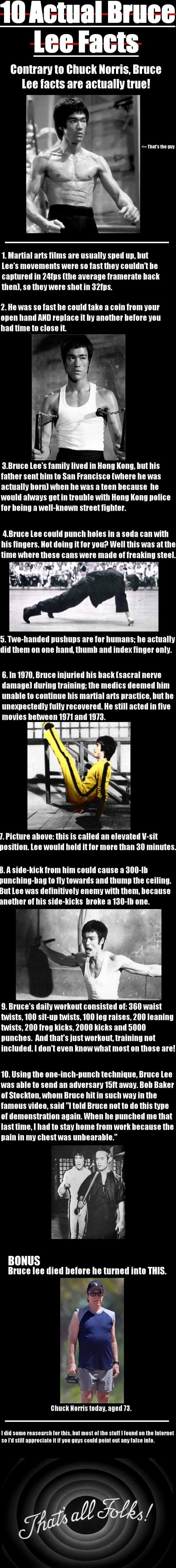"10 Actual Bruce Lee Facts// wow! I wonder if all this is ""actually"" still it's pretty impressive!"