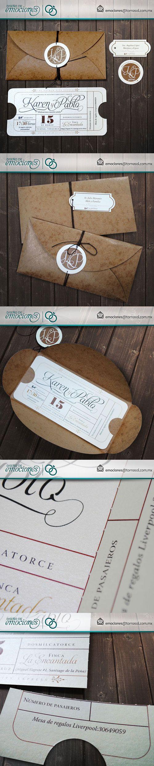 Invitación para boda, simulación de boleto antiguo con plegado para desprender ticket de acceso.