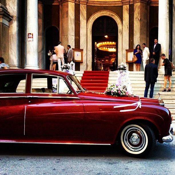 wedding car, red Rolls Royce, Kolonaki, Athens, Greece