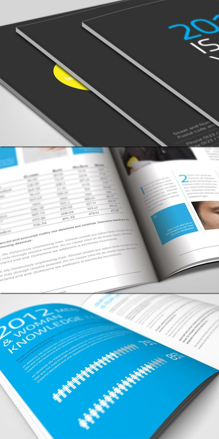 This is a template annual report that can be edited depending on the company and its needs. It was designed by UnicoDesigns, a creative designer from Egypt. The cover is simple and the black gives an appearance of class with pops of color. The blue is carried throughout the spreads and the layout is organized with a minimalistic look.