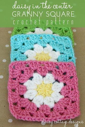 Daisy in the Center Granny Square Crochet Pattern
