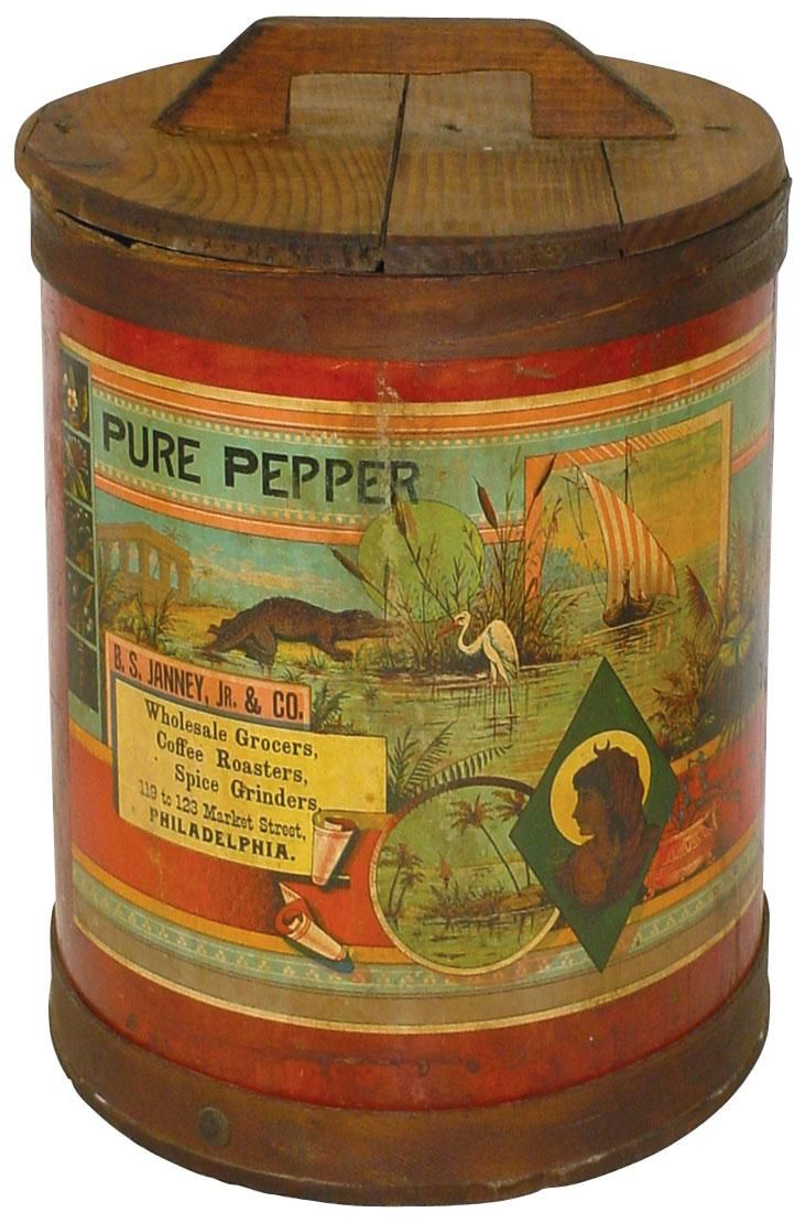 582 best tins packaging and containers vintage images on pepper tin with wooden lid 1890
