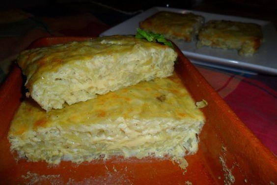 Tortilla al horno de patatas ralladas. Una receta clásica con menos calorías por la manera de elaborarla. Una tortilla de patatas con los ingredientes de siempre pero aligerados para que se pueda disfrutar sin sufrir pensando en que vamos a perder la figura.  Las patatas están ralladas y llevan una primera y ligera cocción con la cebolla picada rehogada en agua. Una vez elaborada la tortilla se la termina de cocer al horno. Rica, ligera y súper deliciosa.