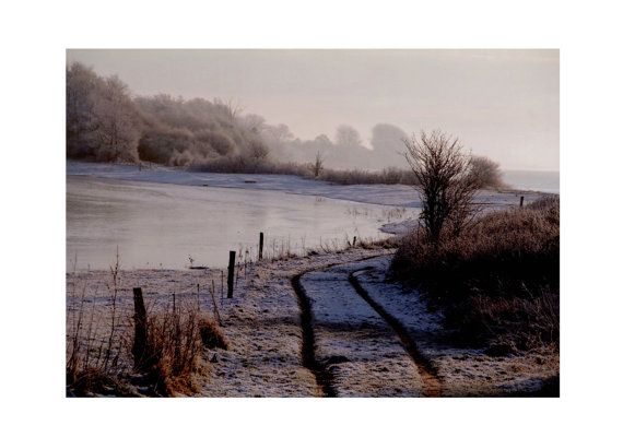 Foggy winter landscape photo Frozen lake art print by TheClayPlay