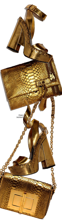 Metallic python with signature Tom Ford yellow golden hardware. Detachable thin…
