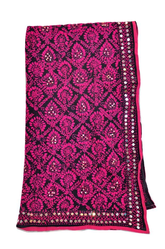 Pink and black motiffed phulkari design
