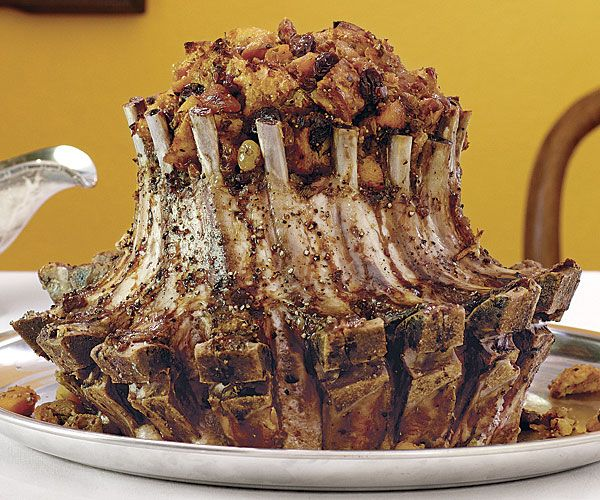 Pork Crown Roast with Dried-Fruit-Sourdough Stuffing and Brandy Cream ...