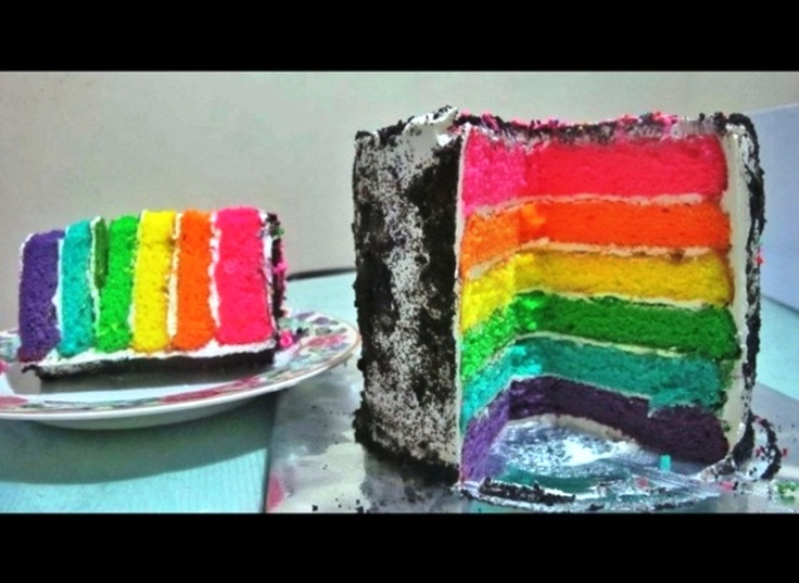 Rainbow Cake oreo cream. Hmm Yummyyy..