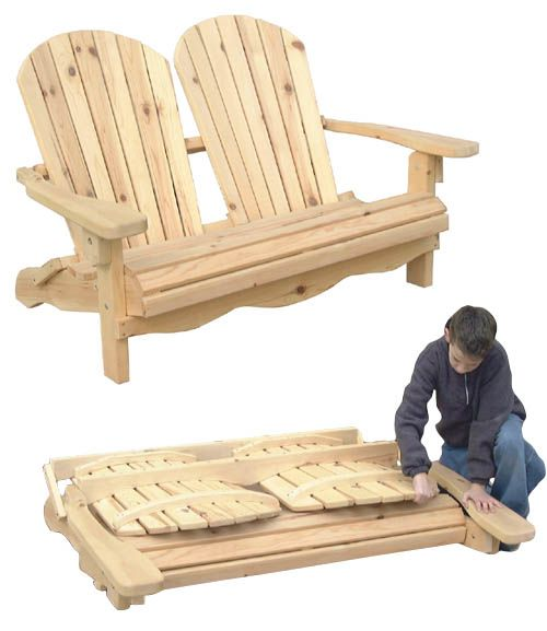Outdoor Furniture  Folding Adirondack Loveseat Plan in