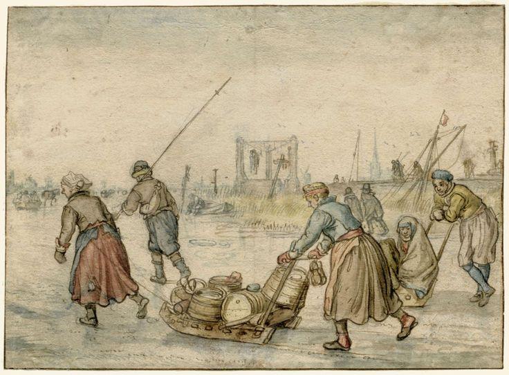 Hendrick Avercamp | Landlieden met sleden op het ijs, Hendrick Avercamp, 1595 - 1634 | Twee vrouwen met een slede en andere figuren op het ijs; in de verte een galg.