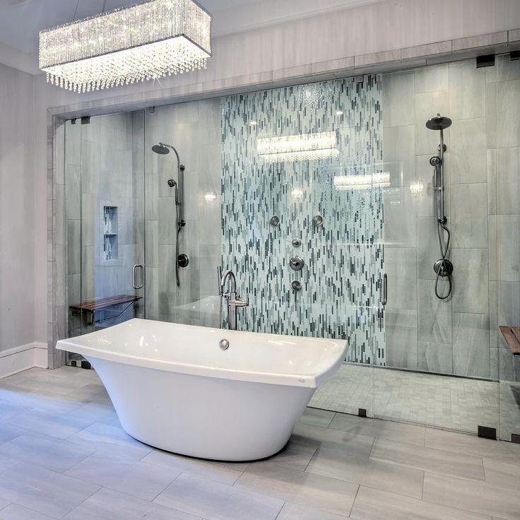 Desain Kamar Mandi Mewah Terbaru Dengan Keramik Dinding Dan Lampu Kamar Mandi Unik
