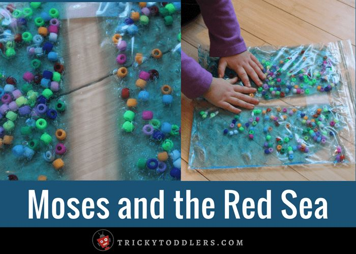 This easy sensory bag is a perfect toddler-friendly activity for the Bible story of Moses and the Red Sea. Supplies can all be found at the dollar store.
