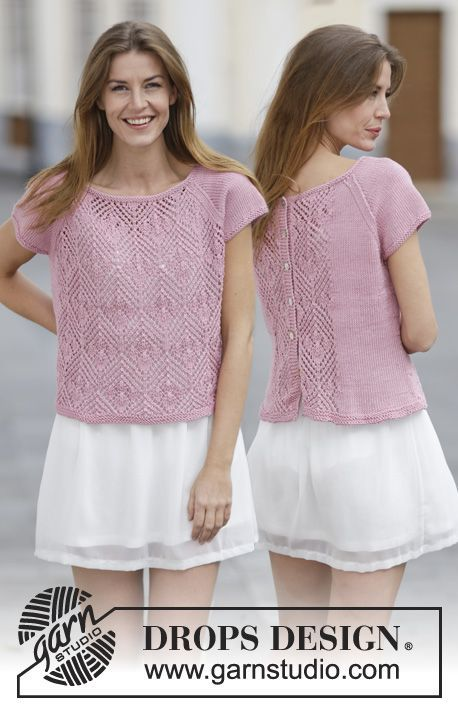 """Knitted DROPS sweater with lace pattern, raglan and buttons on the back in """"Muskat"""" or """"Belle"""". Can be turned and used as jacket. Size: S - XXXL. ~ DROPS Design"""