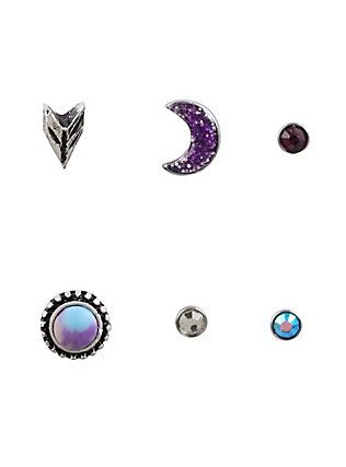 Steel Purple Filigree Moon Nose Stud 6 Pack,